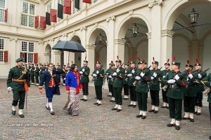 Ambassador Pema Choden inspecting the Guard of Honour prior to her presentation of credentials to His Majesty the King