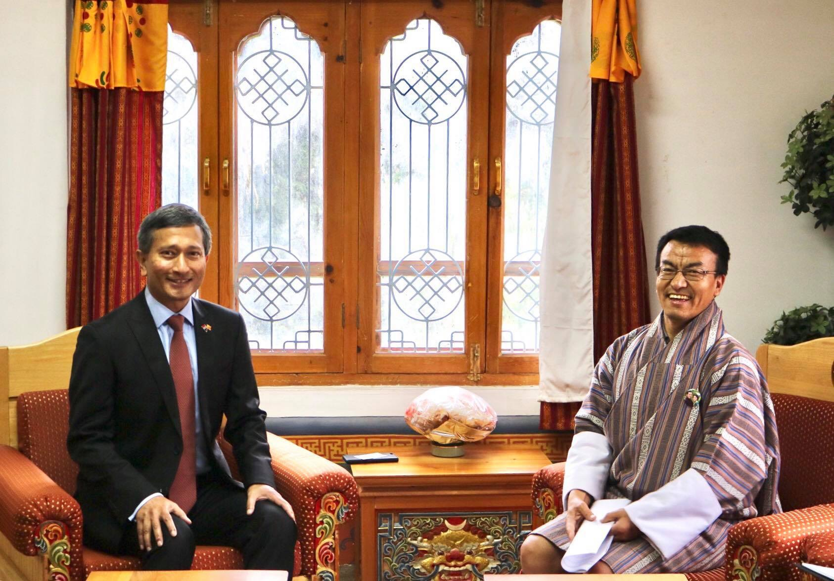 H E Dr Vivian Balakrishnan Minister For Foreign Affairs Of The Republic Singapore Made His Maiden Visit To Bhutan From 14 17 May 2017